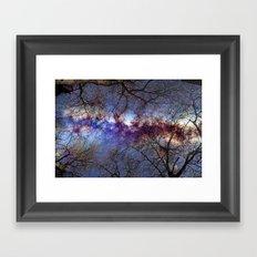 Fantasy stars. Milkyway through the trees. Framed Art Print