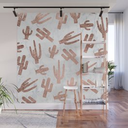 Modern rose gold cactus cacti pattern on white marble Wall Mural