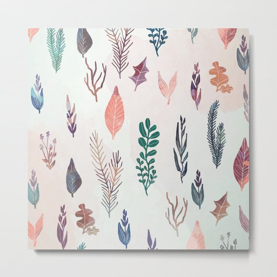 Mix of plants and watercolor leaves Metal Print