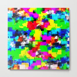 psychedelic geometric square abstract pattern in pink green yellow blue red Metal Print