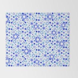 Dynamic Blue Stars of David Pattern Throw Blanket