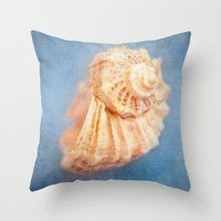 seashell Throw Pillows featuring Seashell by The Last Sparrow