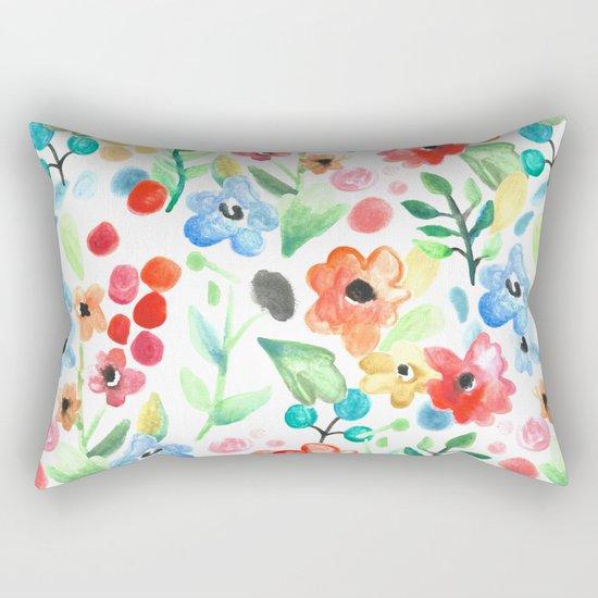 Flourish - Watercolor Floral Rectangular Pillow