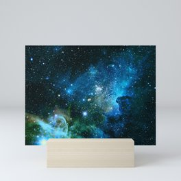 Carina Nebula Blue Turquoise Teal Green Mini Art Print
