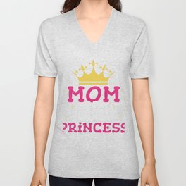 Mom of the Birthday Princess Gift Girl Mommy Daughter Party Unisex V-Neck