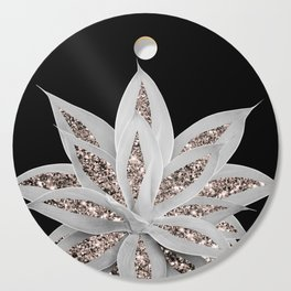Gray Agave with Rose Gold Glitter #2 #shiny #tropical #decor #art #society6 Cutting Board