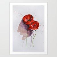 poppies Art Prints featuring Poppies by Alina Rubanenko