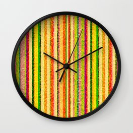 Colorful Stripes and Curls Wall Clock