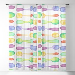 Square of Colorful Watercolor Spoons! Sheer Curtain