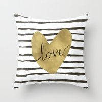 gold foil Throw Pillows featuring Love gold foil heart by Retro Love Photography