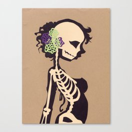 Skeleton with flowers Canvas Print