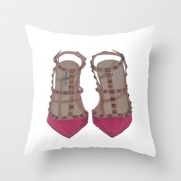 Rockstud Shoes Throw Pillow