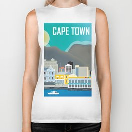 Cape Town, South Africa - Skyline Illustration by Loose Petals Biker Tank