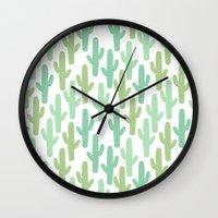cacti Wall Clocks featuring cacti by ELLA CHERREY