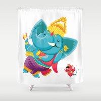 ganesha Shower Curtains featuring GANESHA by La Dibujeria