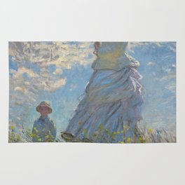 Woman with a Parasol - Madame Monet and Her Son Rug