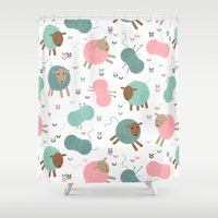 knitting Shower Curtains featuring Knitting sheep by Heleen van Buul