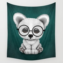 Cute Polar Bear Cub with Eye Glasses on Teal Blue Wall Tapestry