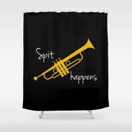 Spit Happens Trumpet Shower Curtain