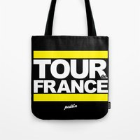 tour de france Tote Bags featuring Tour de France by Pedlin