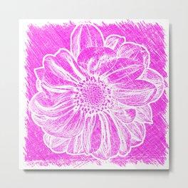 White Flower On Hot Pink Crayon Metal Print