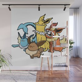 Pokémon - Number 133, 134, 135 and 136 Wall Mural