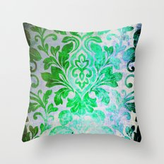 Green Damask Pattern Throw Pillow