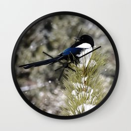 Black-billed Magpie Wall Clock