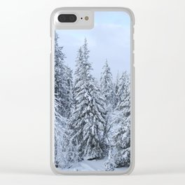 Snowy forest at the White Mountain Clear iPhone Case