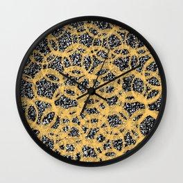 Abstract Beehive Yellow & Black Pattern Wall Clock