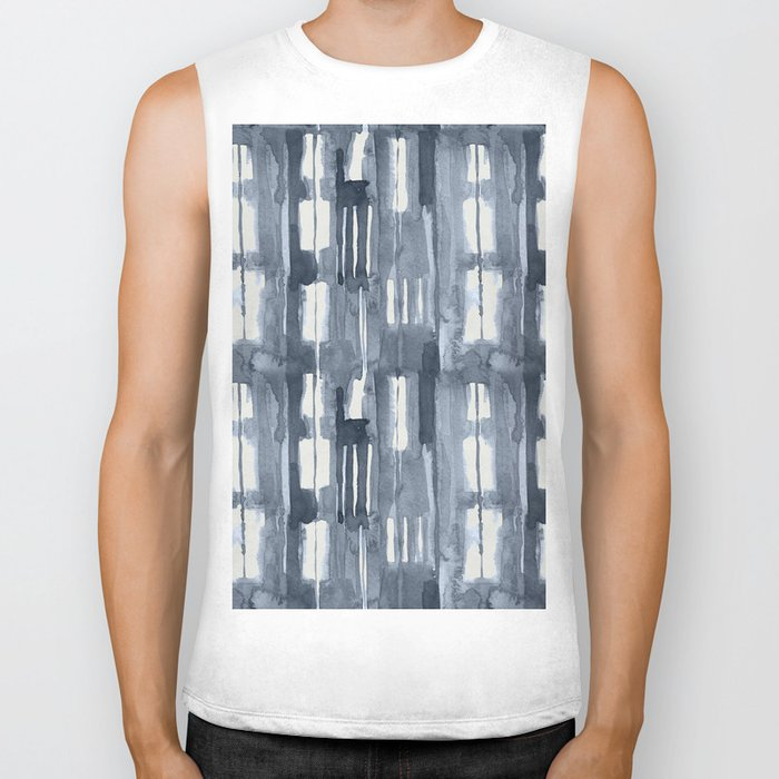 Simply Shibori Lines in Indigo Blue on Lunar Gray Biker Tank