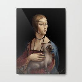 Lady with a Kitty Metal Print