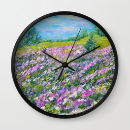 Thoughtful Meadow, impressionism landscape Wall Clock