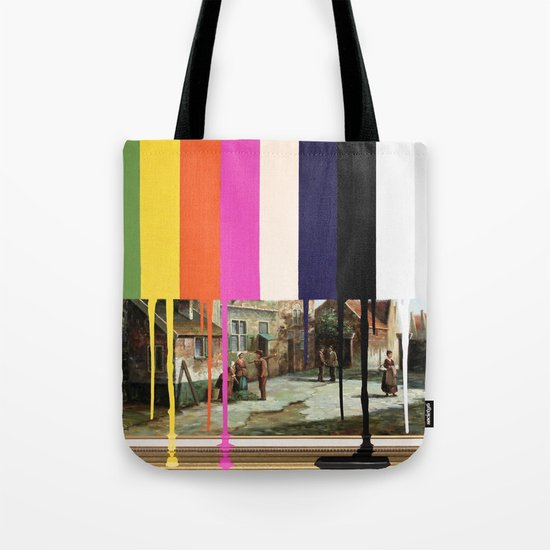 Garage Sale Painting of Peasants with Color Bars Tote Bag