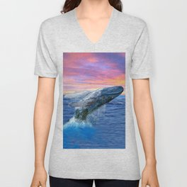 Breaching Humpback Whale at Sunset Unisex V-Neck
