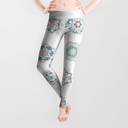 Warm green pink mini mandalas pattern Leggings