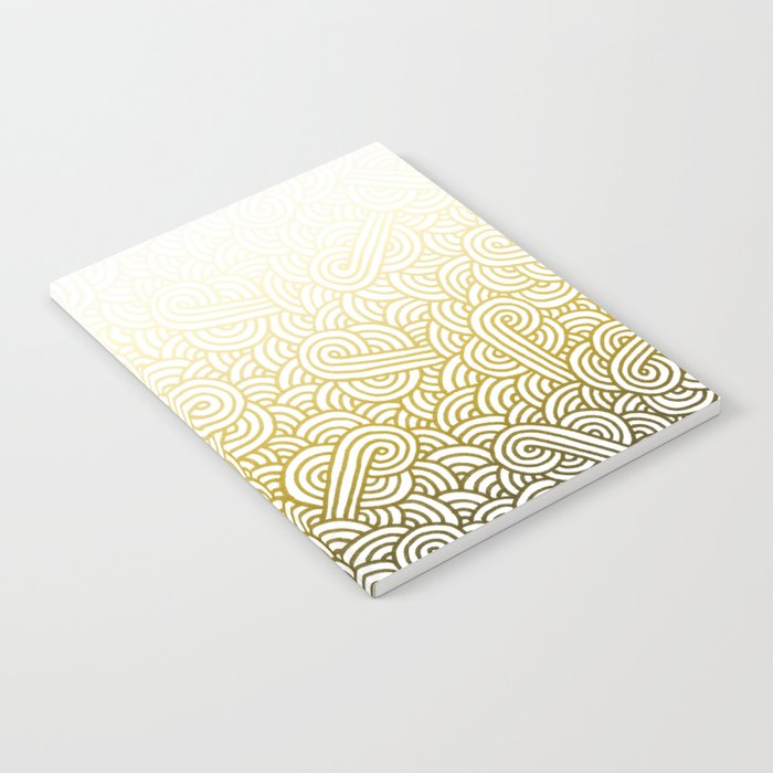 Gradient yellow and white swirls doodles Notebook