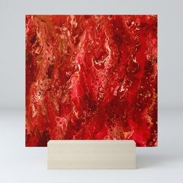 Bright Red Acrylic Pour Painting Mini Art Print