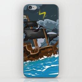 Pirate Ship in Stormy Ocean iPhone Skin