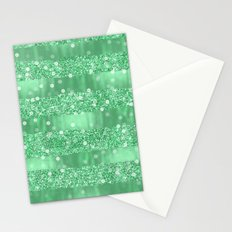 Chic Mint Confetti Faux Glitter Stripes Stationery Cards