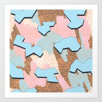 Memphis Pattern - Peach Art Print