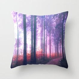 Woods in the outer space Throw Pillow