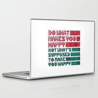 be happy Laptop & iPad Skins featuring Happy by Hector Mansilla