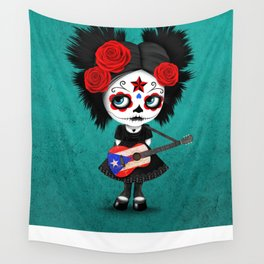 Day of the Dead Girl Playing Puerto Rican Flag Guitar Wall Tapestry