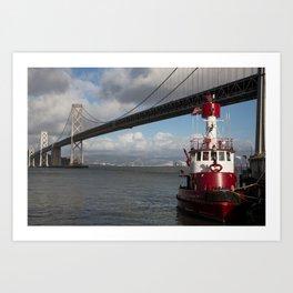 Bay Bridge Fire Boat  Art Print