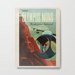 Retro Space Travel Poster - Olympus Mons. Metal Print