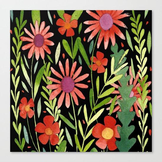 Flower Burst Orange and Black, floral pattern design Canvas Print