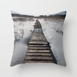 Winter at the Boardwalk Throw Pillow