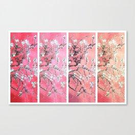 Van Gogh Almond Blossoms Deep Pink to Peach Collage Canvas Print