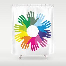 Hand color imprints Shower Curtain